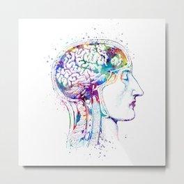 Human Head and Brain Art Colorful Blue Purple Watercolor Gift Anatomical Art Doctors Gift Metal Print