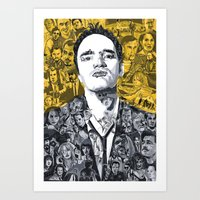 tarantino Art Prints featuring Tarantino by Matthew Brazier Illustration