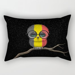 Baby Owl with Glasses and Belgian Flag Rectangular Pillow