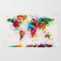 map Area & Throw Rugs featuring Map of the World Map Paint Splashes by artPause