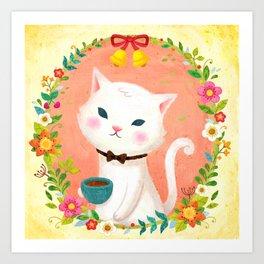 A cat who drinks tea Art Print