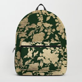 Stylish forest green chic gold elegant floral pattern Backpack