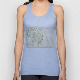 Vintage Map of The St Marys River - FL/GA (1857) Unisex Tank Top