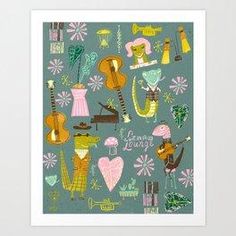 Lizard lounge Art Print