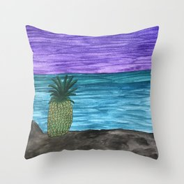 Dreaming of a Pineapple by the Sea Throw Pillow
