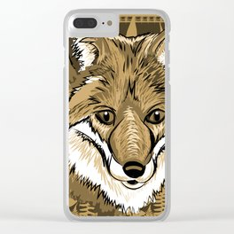 FOX Sketch Mono w/background Clear iPhone Case