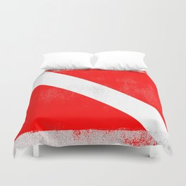 Diver Down Distressed Halftone Denim Flag Duvet Cover