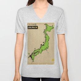 Vintage style Map of Japan Unisex V-Neck