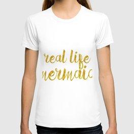 Real Life Mermaid in Gold T-shirt