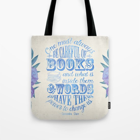 Be Careful Of Books - White and Blue Tote Bag