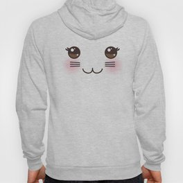 Kawaii funny cat muzzle with pink cheeks and big black eyes on white background Hoody