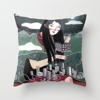 "vancouver Throw Pillows featuring ""Vancouver"" Illustration by Julia Iredale"