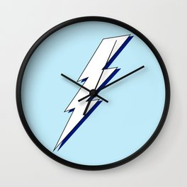 Just Me and My Shadow Lightning Bolt - Light-Blue White Blue Wall Clock