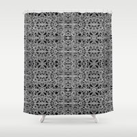 cyberpunk Shower Curtains featuring Cyberpunk Silver Print Pattern  by DFLC Prints