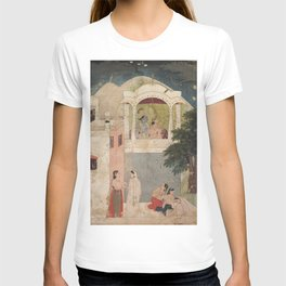 Radha and Krishna Seated on a Balcony - 18th Century Classical Hindu Art T-shirt