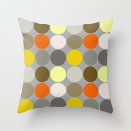 Mid-Century Giant Dots, Gray, Gold and Orange Throw Pillow