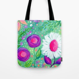 White Flowers, Purple Flowers, Floral Painting for Girl, Nursery Decor, Green, Blue, Coral Art Tote Bag