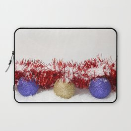 Christmas Baubles Tinsel and Snow Laptop Sleeve