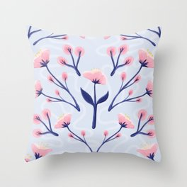 Mod Icy Pink Flowers Throw Pillow