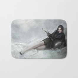 Gunslinger - Badass girl with gun in the snow Bath Mat