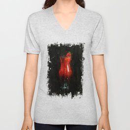 Painted red strawberry cocktail Unisex V-Neck