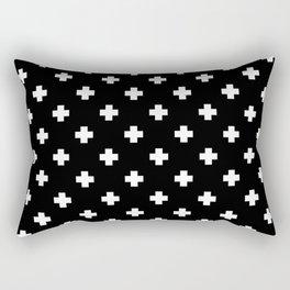 White Swiss Cross Pattern on black background Rectangular Pillow