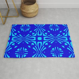 Classic Blue Reflection Pattern Rug