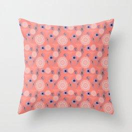 Caduceus in Coral Floral Throw Pillow