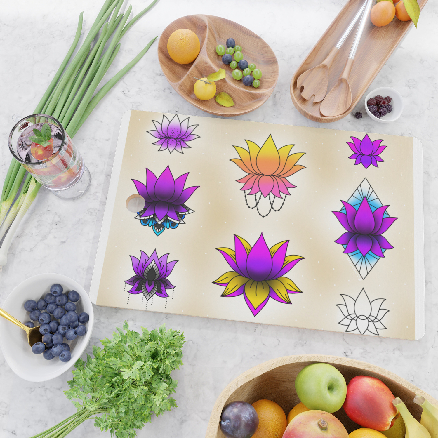 Lotus Flower Sheet Cutting Board By Carianndominguez Society6