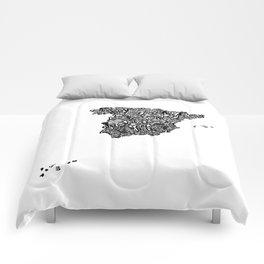 Typographic Spain map art print Comforters