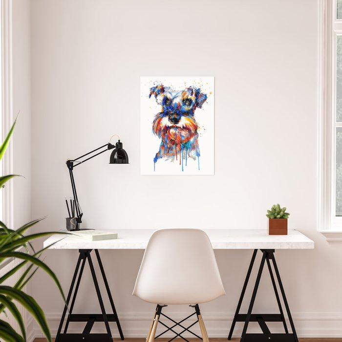 Schnauzer Head Watercolor Portrait Poster
