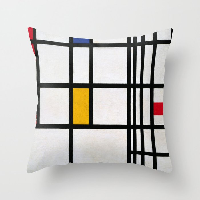 Piet Mondrian Composition In Red Blueand Yellow Throw Pillow By