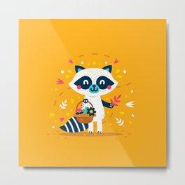 Cute Raccoon Collect Flowes Metal Print