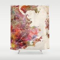 rio de janeiro Shower Curtains featuring Rio de Janeiro by MapMapMaps.Watercolors