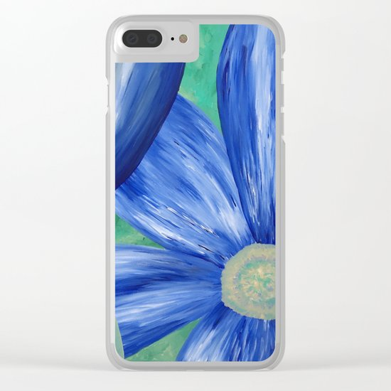 Large Blue Flowers Clear iPhone Case