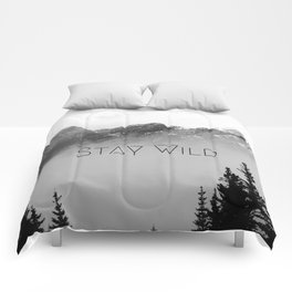 Stay Wild, mountain landscape photo, rocky mountains black and white Comforters