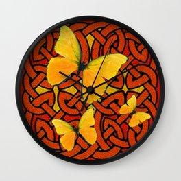 COFFEE BROWN YELLOW BUTTERFLIES CELTIC ART PATTERN  ART Wall Clock