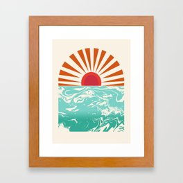 Keepin' It Real - retro 70s vibes throwback ocean sunset sunrise socal surfing beach life 1970's Framed Art Print