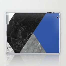 Black and White Marbles and Pantone Lapis Blue Color Laptop & iPad Skin