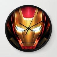 iron man Wall Clocks featuring IRON MAN IRON MAN by Smart Friend