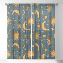 Vintage Sun and Star Print in Navy Sheer Curtain