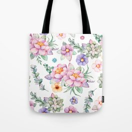 Pastel pink lavender green watercolor hand painted floral Tote Bag