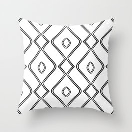 Modern Boho Ogee in Black and White Throw Pillow