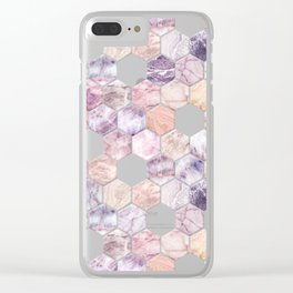 Rose Quartz and Amethyst Stone and Marble Hexagon Tiles Clear iPhone Case
