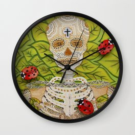 Skeleton and ladybirds Wall Clock