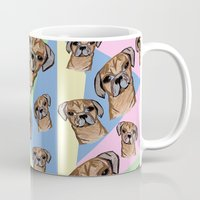 pugs Mugs featuring square pugs by lindseyclare