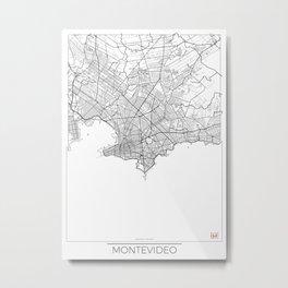 Montevideo Map White Metal Print