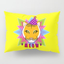 Serious Tiger Cat in Fabulous Party Hat Pillow Sham
