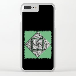 Paradox Tile on Green Clear iPhone Case