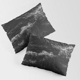 Dark Ocean in Black and. White Pillow Sham